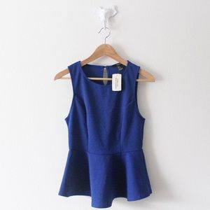 NWT Forever 21 Blue Fitted Waist Tank Top Blouse